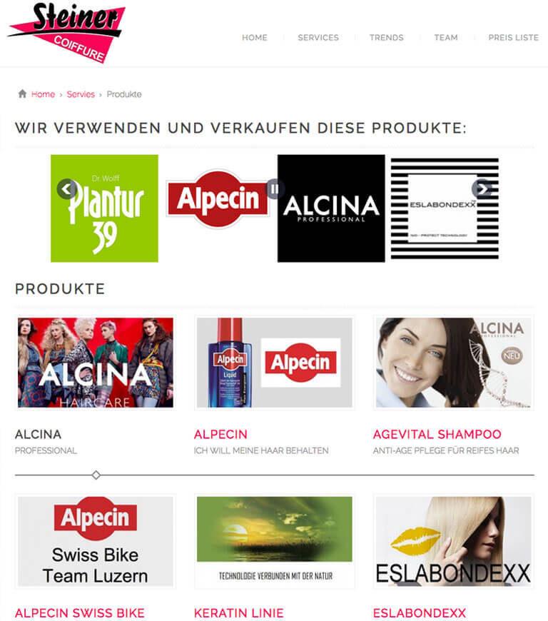 Produkteübersicht Website Coiffure Steiner