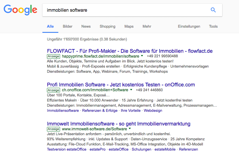 Google AdWords Search Anzeigen