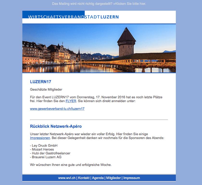 Newsletter für den Wirtschafsverband Luzern