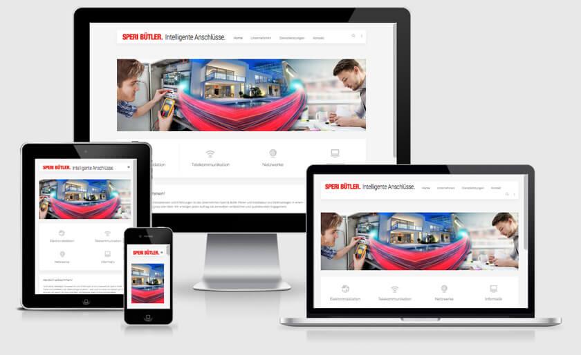Die Website für Speri Bütler AG wurde mit dem CMS-System von Joomla erstellt