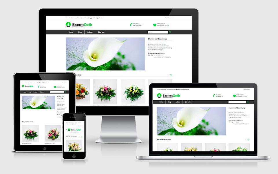 Responsiver Online-Shop für Blumen Gmür
