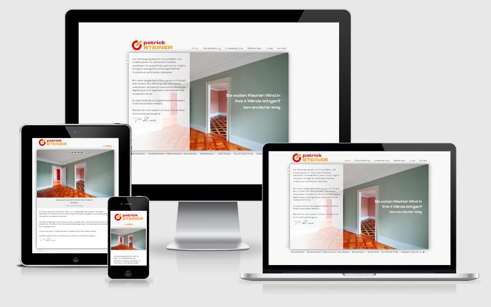 Responsive Webseite für Patrick Steiner Bodenbeläge