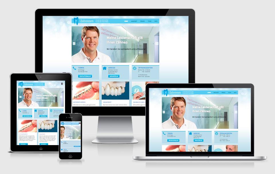 Responsive Webseite für Zahnteam