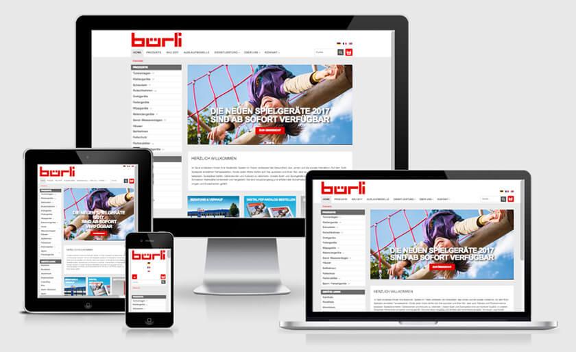Startseite responsive Webshop für Bürli AG