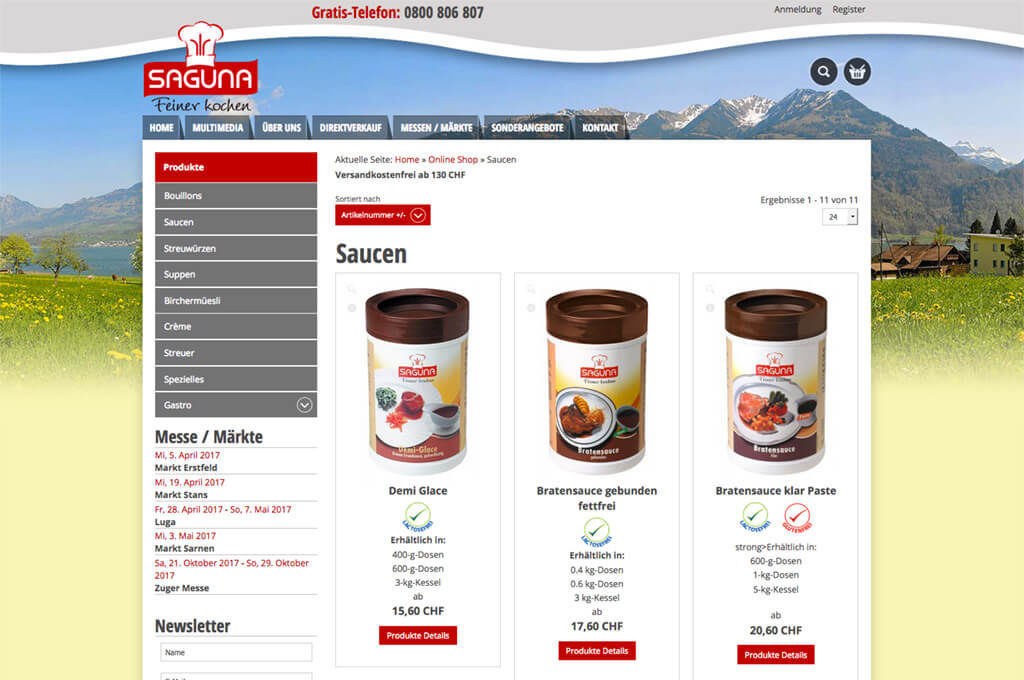 Produkteübersicht - Saguna Webshop