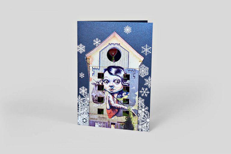 Weissdruck Weihnachtskarte