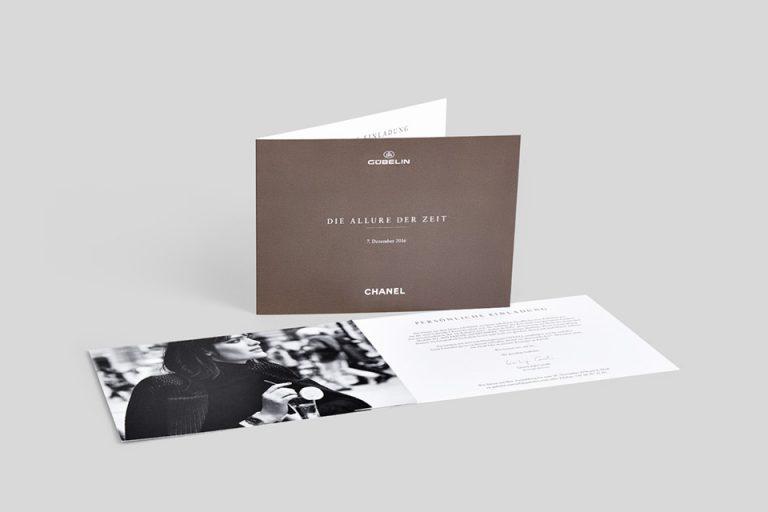 Einladungskartendruck für Gübelin Chanel Event