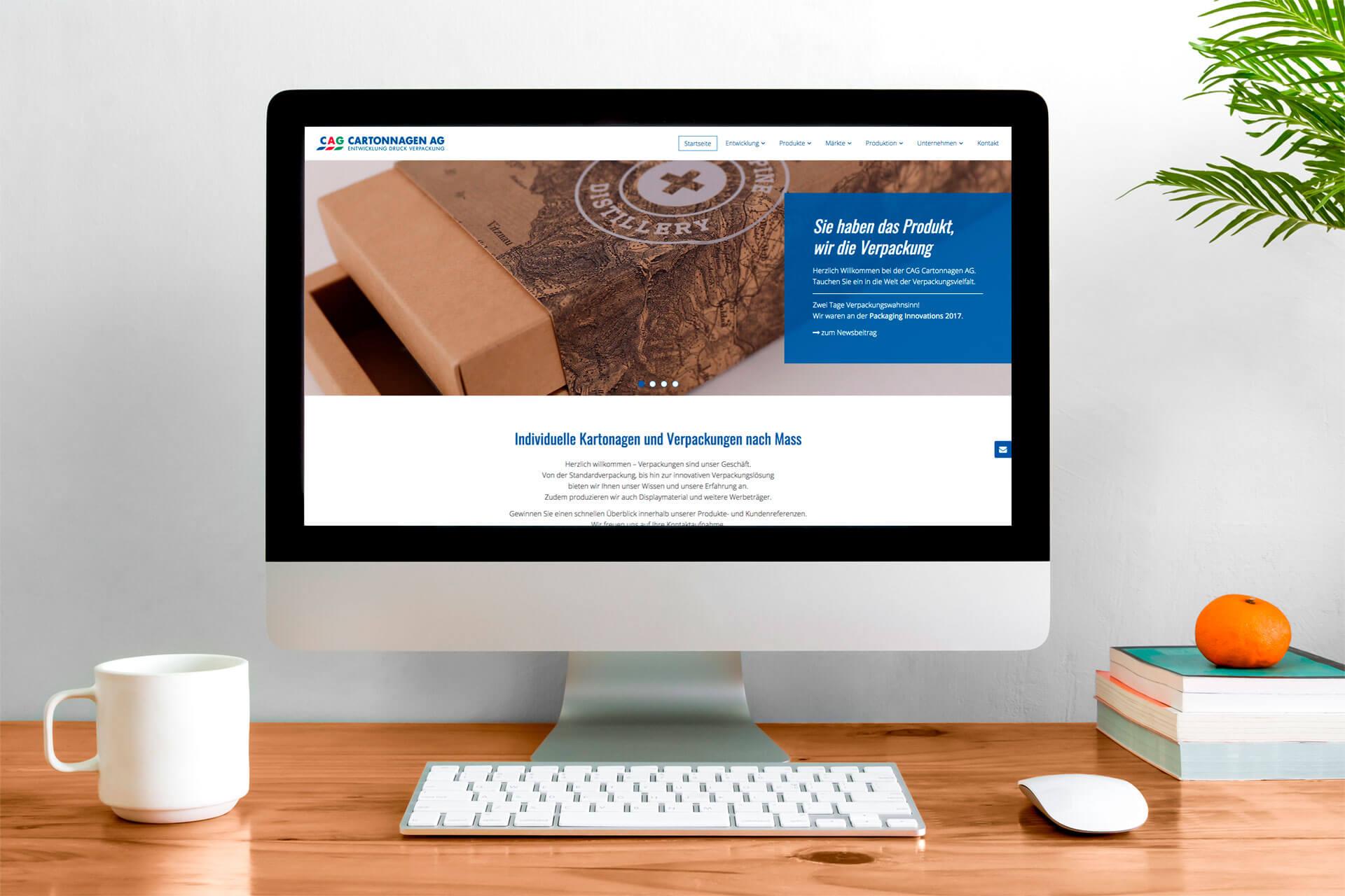 Vorschau Webseite CAG Cartonnagen AG
