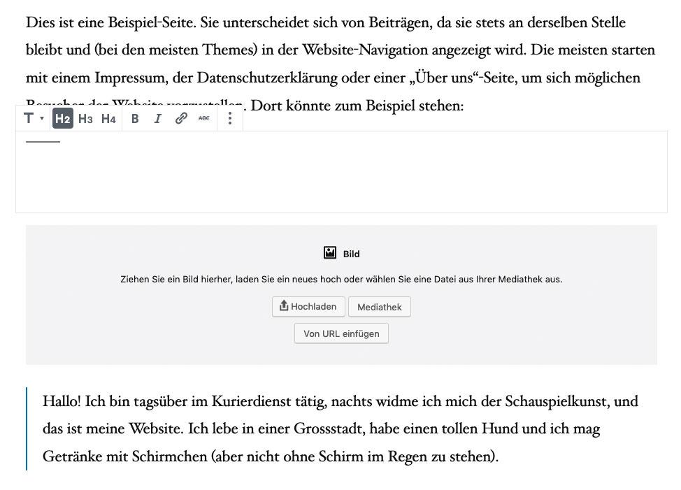 Übersicht über Blöcke im Gutenberg-Editor