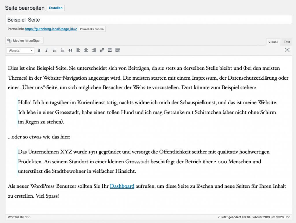 Kassischer WordPress-Editor