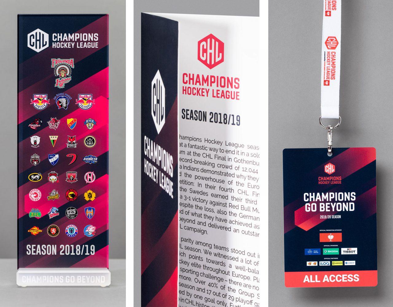 Details des Corporate Designs der Champions Hockey League